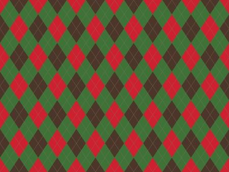 緑と赤のひし形でクリスマス シームレスなアーガイル柄