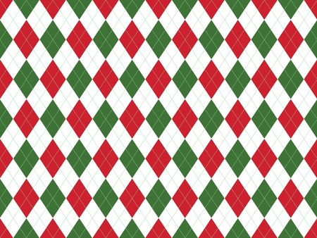 Christmas seamless argyle pattern in green and red rhombuses