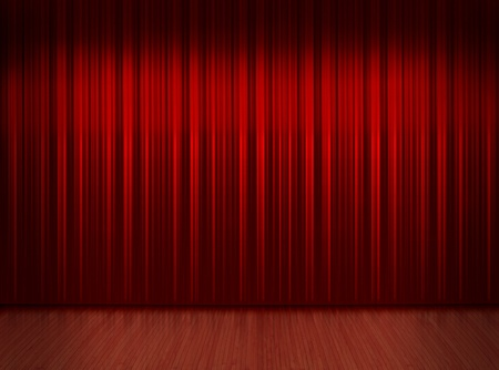 Wooden floor stage and a red curtain in the background photo