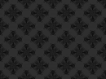 黒とグレーのダマスク織のシームレスな壁紙パターン 写真素材