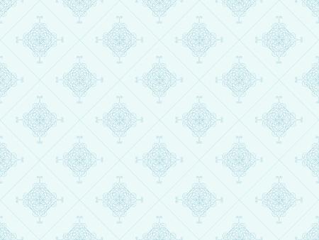 青のダマスク織のシームレスな壁紙パターン 写真素材