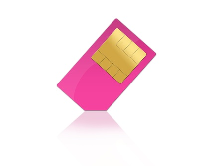 pink sim card isolated on white background Stock Photo
