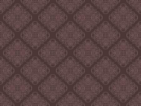 ブラウンのダマスク織のシームレスな壁紙パターン 写真素材