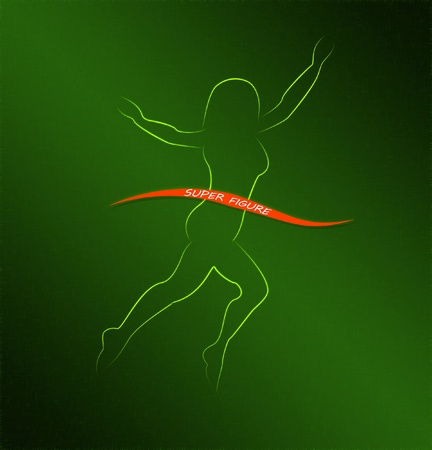 Beautiful slim female body silhouette on green background Stock Photo