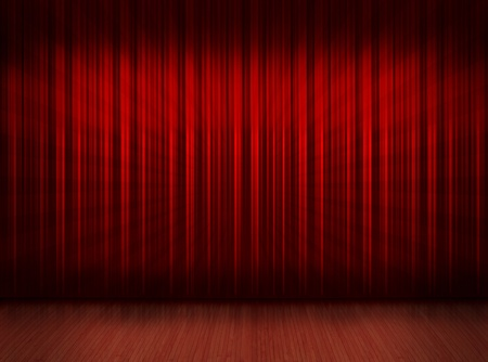 Wooden floor stage and a red curtain in the background