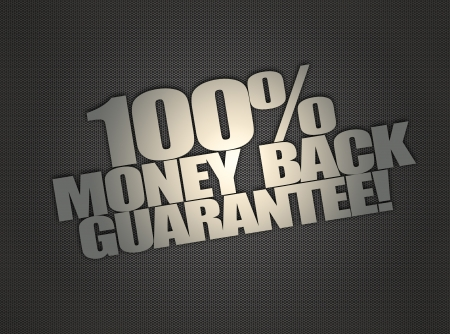 Money back message on abstract metalic mesh background