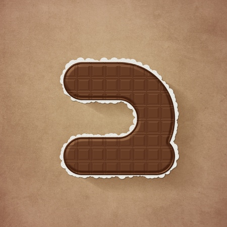 Brown chocolate number 2 two Stock Photo