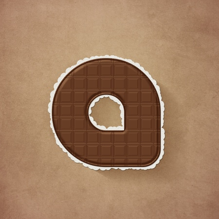 Chocolate brown alphabet letter - a photo