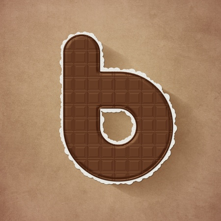 Chocolate brown alphabet letter - b