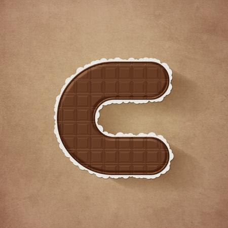C - チョコレートの茶色のアルファベット文字 写真素材