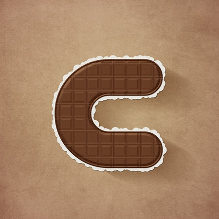 Chocolate brown alphabet letter - c