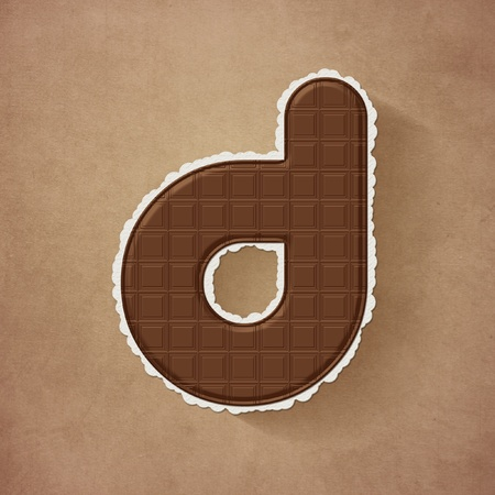 d data: Chocolate brown alphabet letter - d Stock Photo
