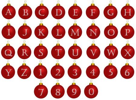 クリスマス アルファベット赤いボール 写真素材