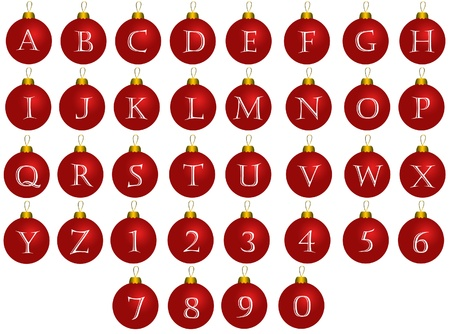 Christmas alphabet red balls Stock Photo