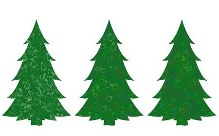 緑のクリスマス ツリーのセット 写真素材