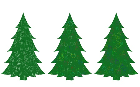 Set of green christmas trees Stock Photo
