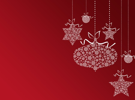Red new year background with white christmas balls