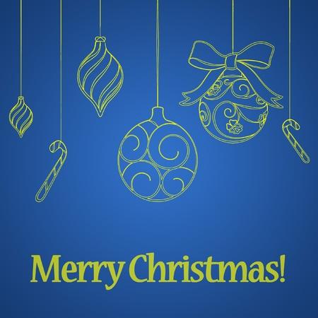 クリスマス ボールと青い新年の背景 写真素材