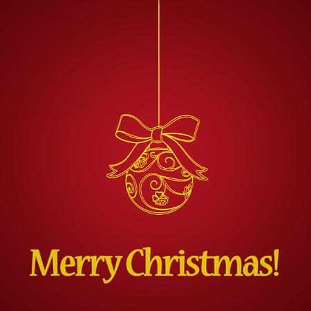 赤の背景に黄色のクリスマス ボール 写真素材
