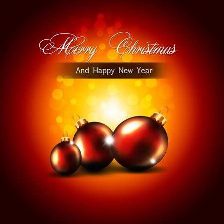 weihnachten: Christmas greeting card with balls
