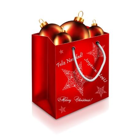 白い背景で隔離の赤クリスマス バッグとボール