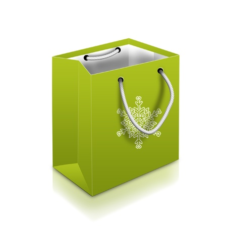 weihnachten: Green Christmas Bag With snowflake isolated on white background
