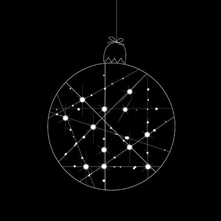 黒い背景に白いクリスマス新年ボール