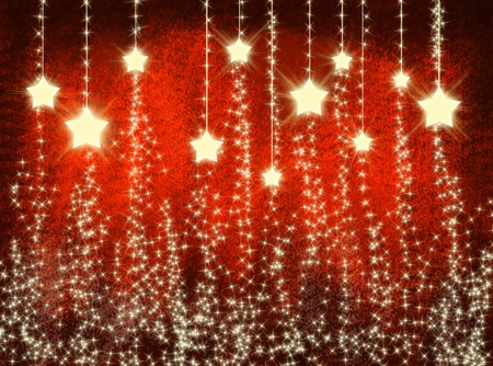 Red sparkling christmas background with stars Stock Photo