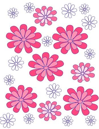 stylized design: fiori cremisi con un contorno blu su uno sfondo bianco un disegno stilizzato di folk tradizionale Vettoriali