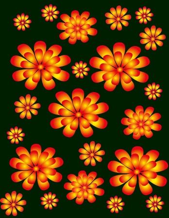 fondo verde oscuro: flores de color naranja en el esquema del circuito sin un fondo de color verde oscuro de un dise�o estilizado de folk tradicional