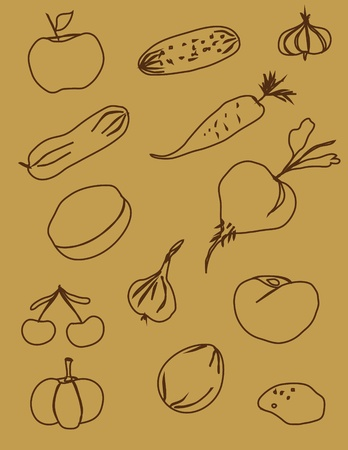 the contours of fruit and vegetables brown on a beige background Stock Vector - 10319104