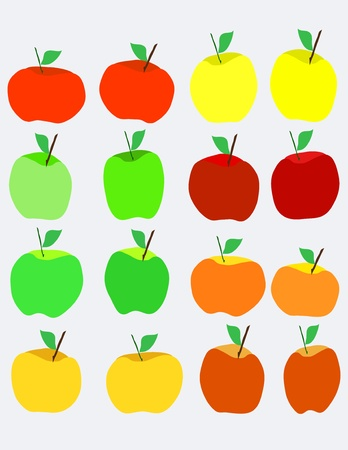 pastel shades: a few apples in pastel shades of red, yellow and red on a gray background