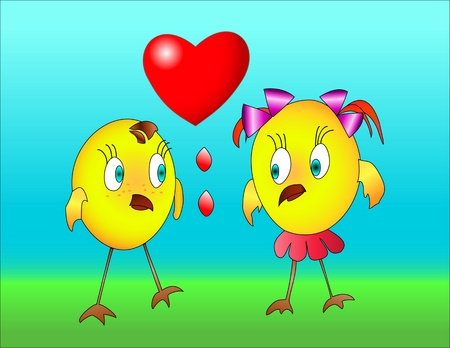 two little birds boy and girl in the blue and green background. next to them, heart photo