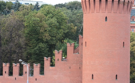 view of the wall of the tower of moscow kremlin photo