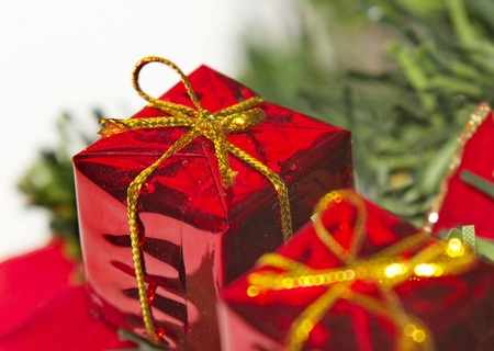 festive christmas decorations, toys, beautiful toys of different colors photo