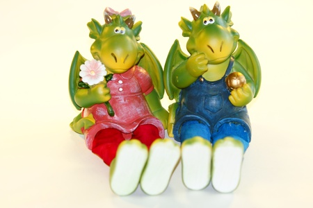toy dragons, the symbol of 2012 on a white background Stock Photo - 13323162