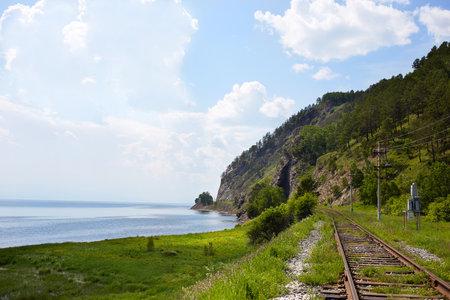 Railway near the shore of Lake Baikal in summer.