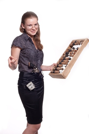 Girl with big wooden abacus on a white background photo
