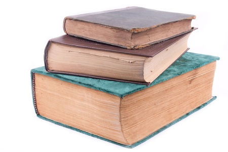 three old books on white background Stock Photo - 9744364