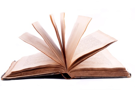 old open book on white background Stock Photo - 9744365
