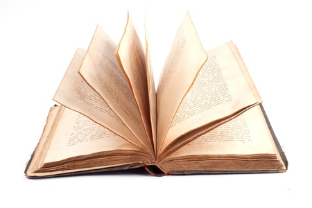 old open book on white background Stock Photo - 9744362