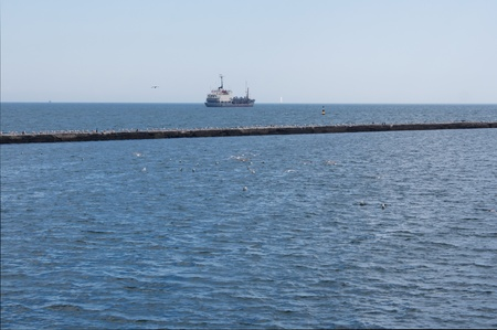 Sea view from the pier, seagulls and ship  photo