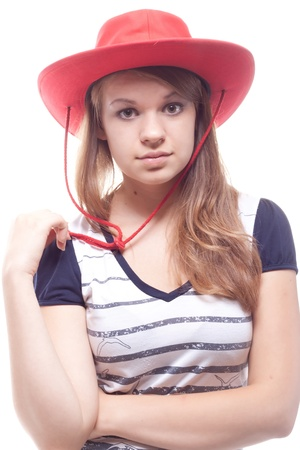 Portrait of a girl in a red hat studio photography Stock Photo - 10345034