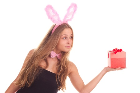 A girl dressed as a rabbit with gifts studio shooting Stock Photo - 11003207