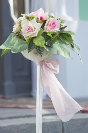 catholic wedding: Flowers at a wedding photography outdoors Stock Photo
