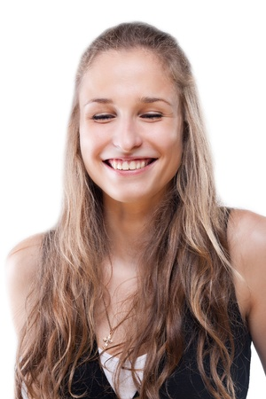 Portrait of a girl her eyes closed with pleasure on a white background Stock Photo - 12004967