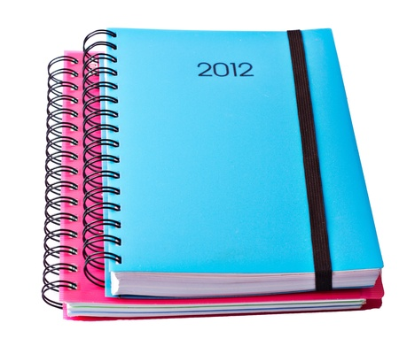 Blue Diary for 2012 on a light background photo