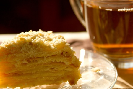 high calorie: napoleon cake and a cup of tea