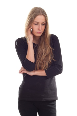 Girl talking on the phone photography studio photo