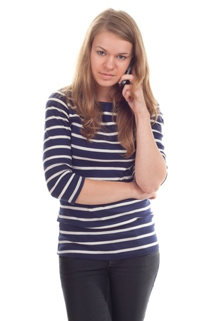 Girl talking on the phone photography studio photo